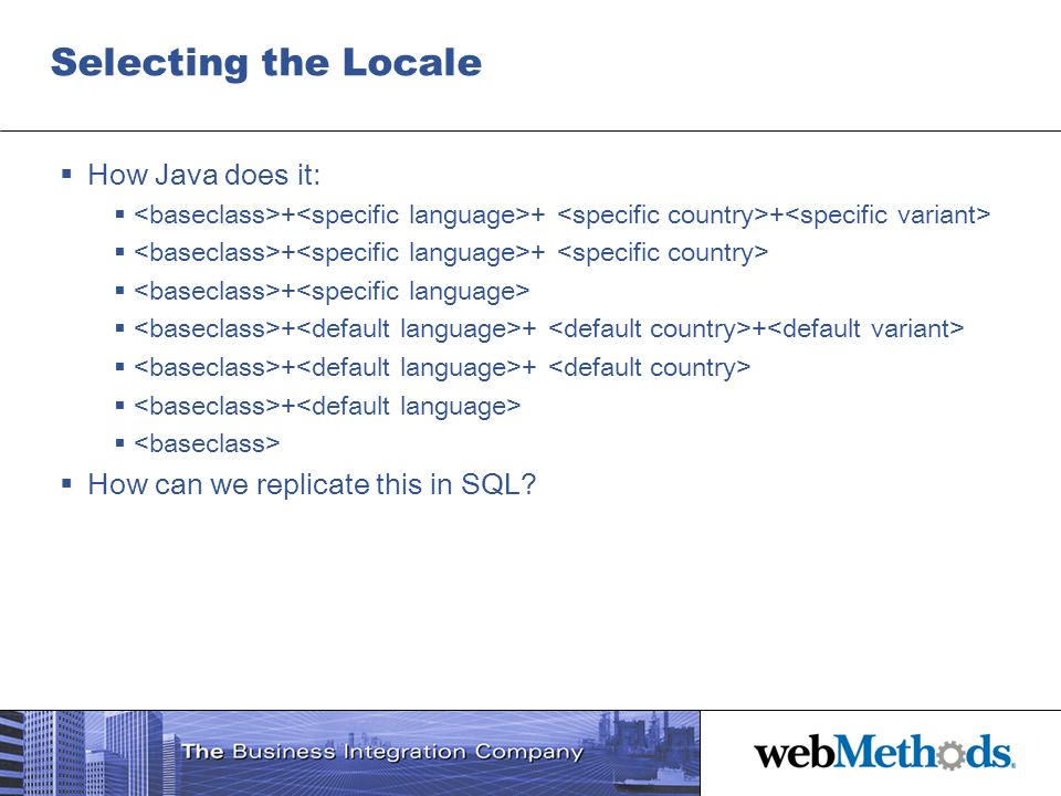 Selecting the Locale How Java does it: