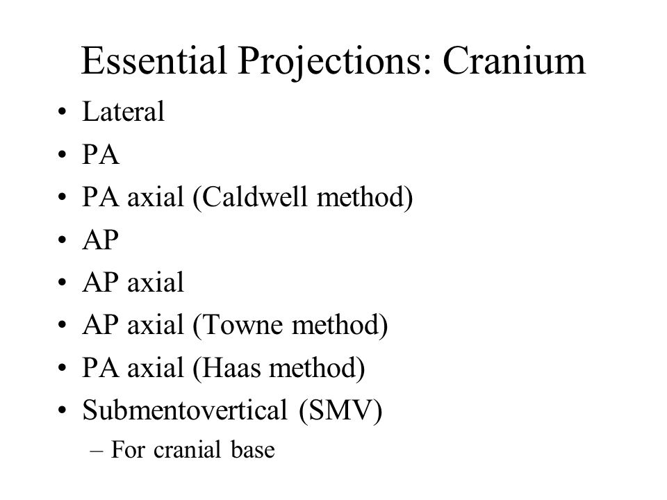 Essential Projections: Cranium
