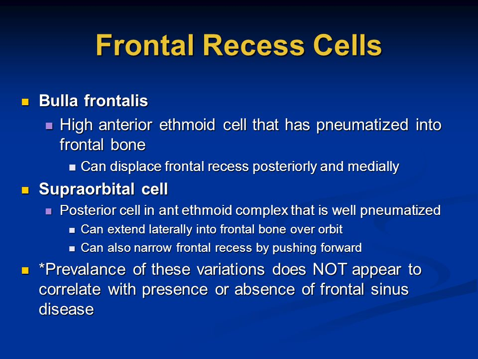 Frontal Recess Cells Bulla frontalis