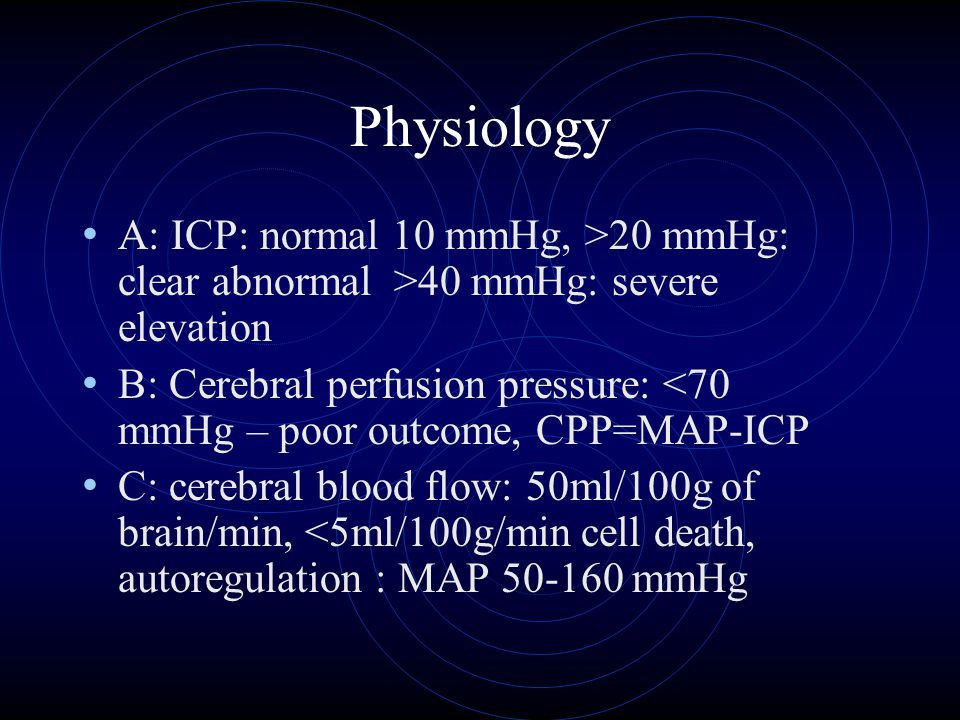 Physiology A: ICP: normal 10 mmHg, >20 mmHg: clear abnormal >40 mmHg: severe elevation.