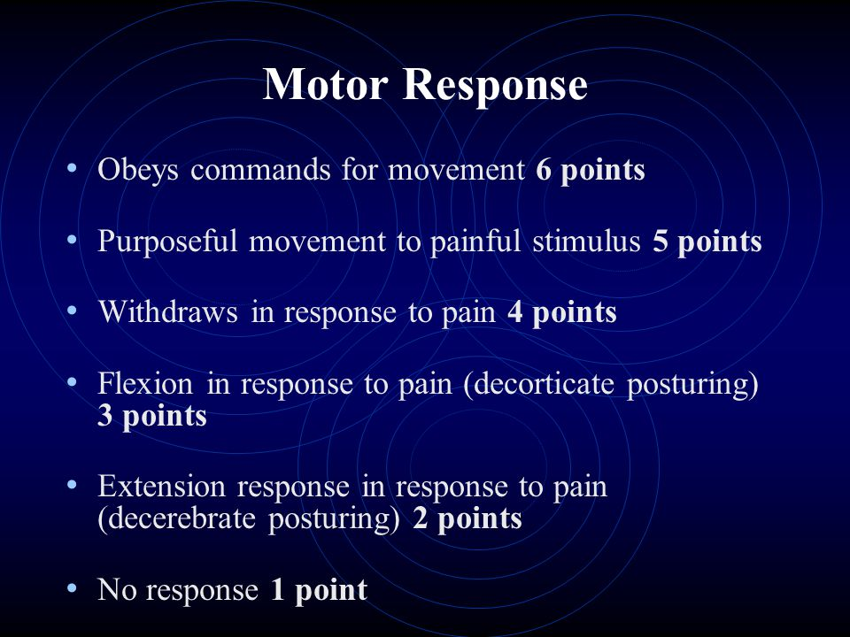 Motor Response Obeys commands for movement 6 points