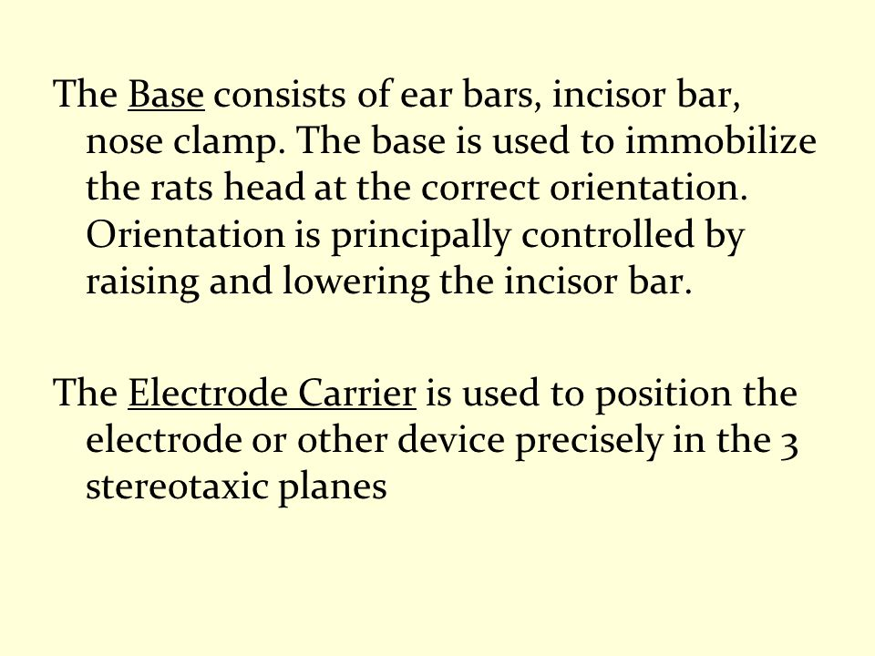 The Base consists of ear bars, incisor bar, nose clamp