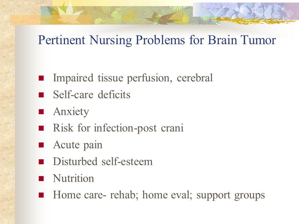 Pertinent Nursing Problems for Brain Tumor