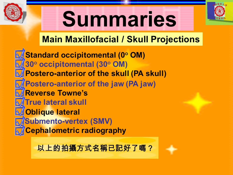 Summaries Main Maxillofacial / Skull Projections