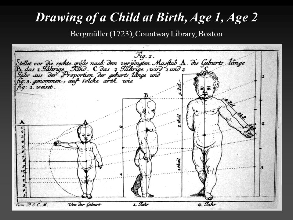 Drawing of a Child at Birth, Age 1, Age 2