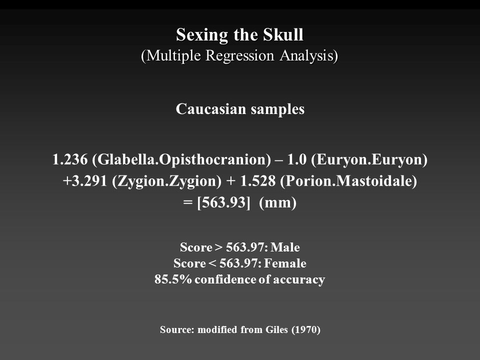 Sexing the Skull (Multiple Regression Analysis) Caucasian samples