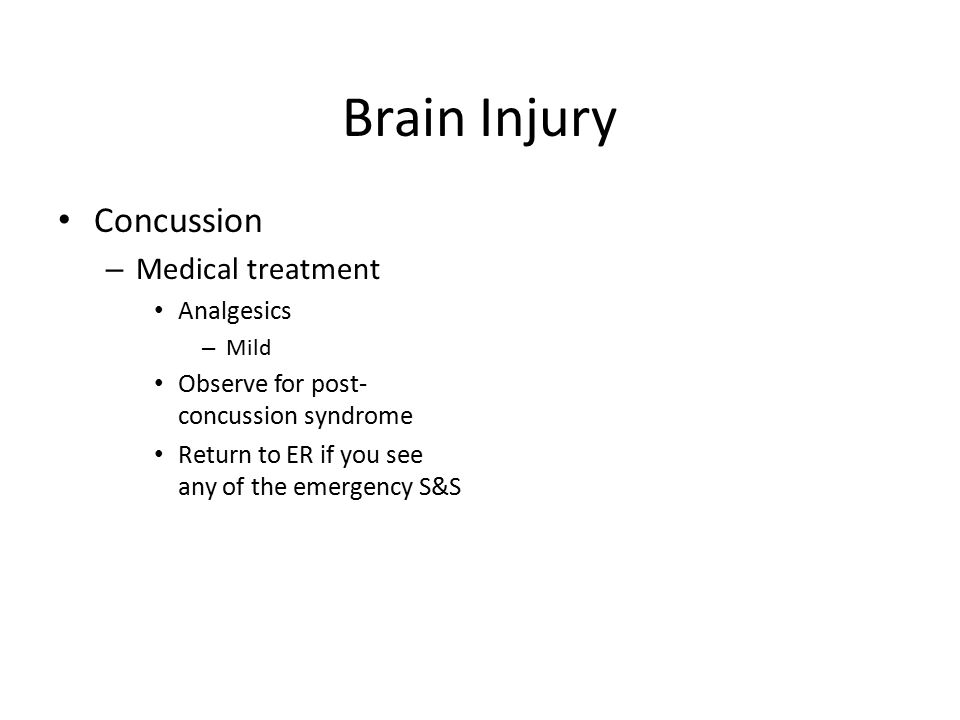 Brain Injury Concussion Medical treatment Analgesics