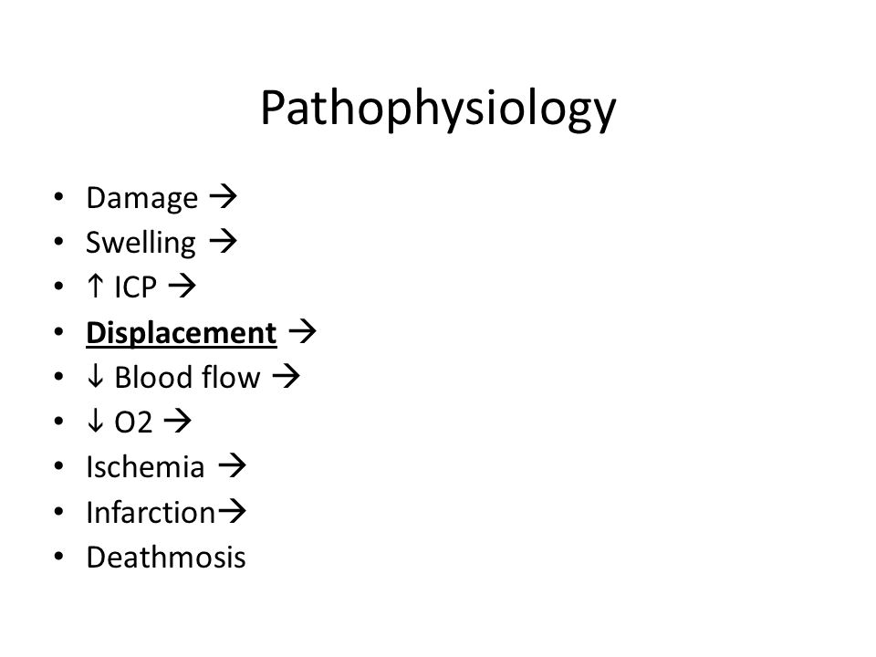 Pathophysiology Damage  Swelling  h ICP  Displacement 