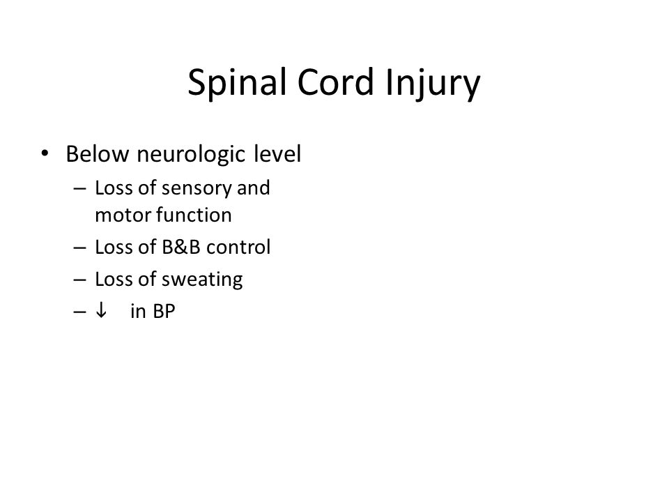 Spinal Cord Injury Below neurologic level