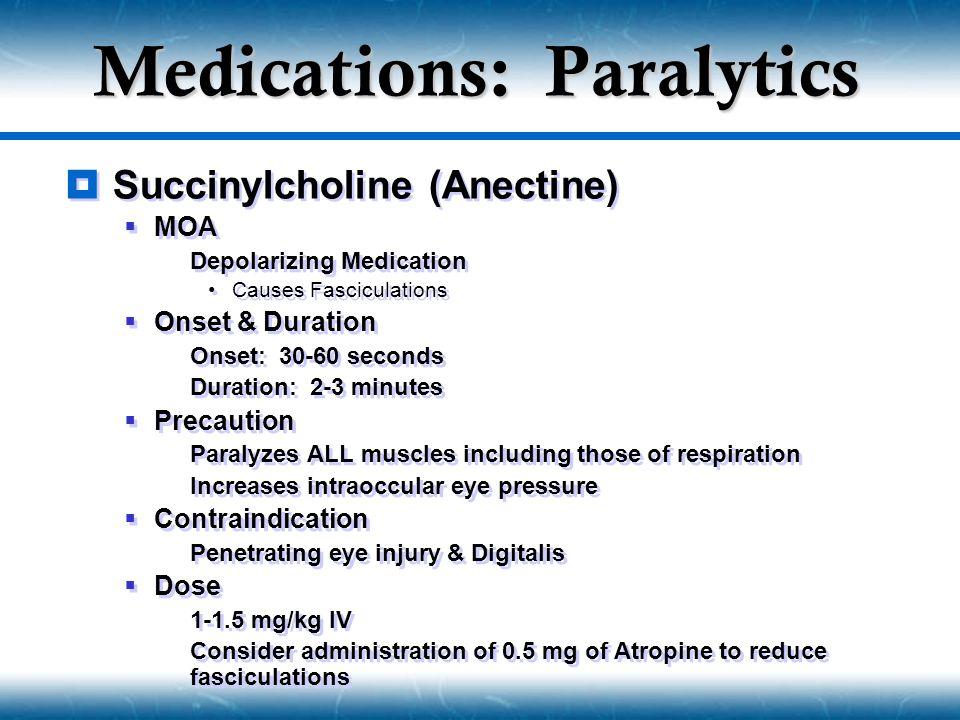 Medications: Paralytics