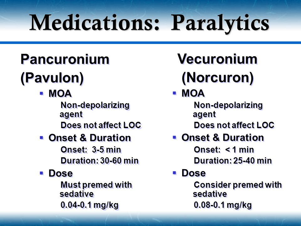 Medications: Paralytics