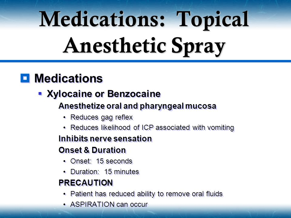 Medications: Topical Anesthetic Spray