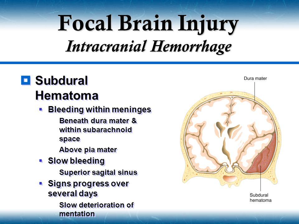 Focal Brain Injury Intracranial Hemorrhage