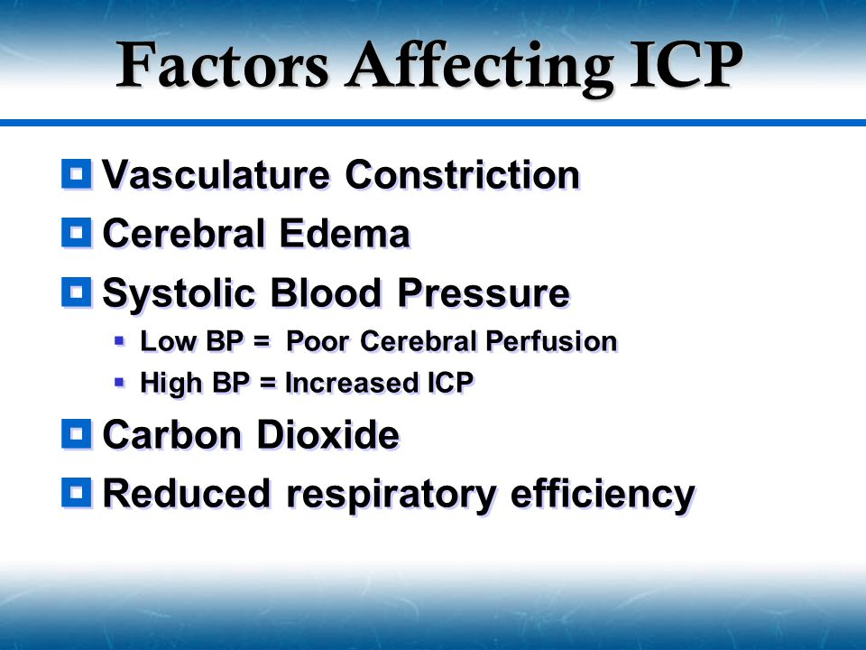 Factors Affecting ICP Vasculature Constriction Cerebral Edema