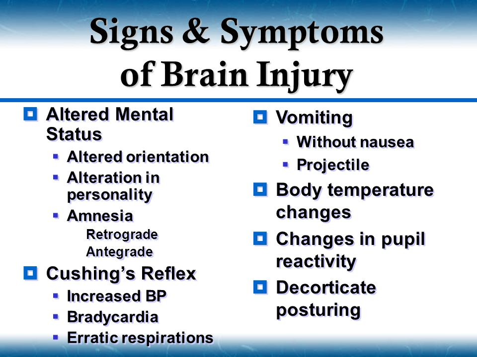 Signs & Symptoms of Brain Injury