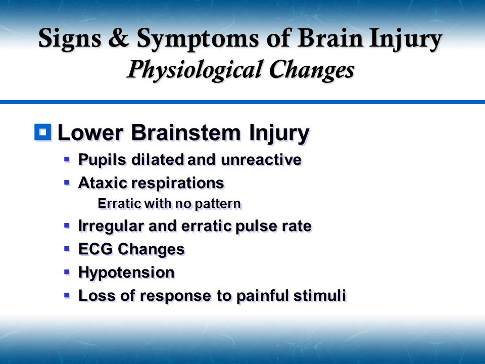Signs & Symptoms of Brain Injury Physiological Changes