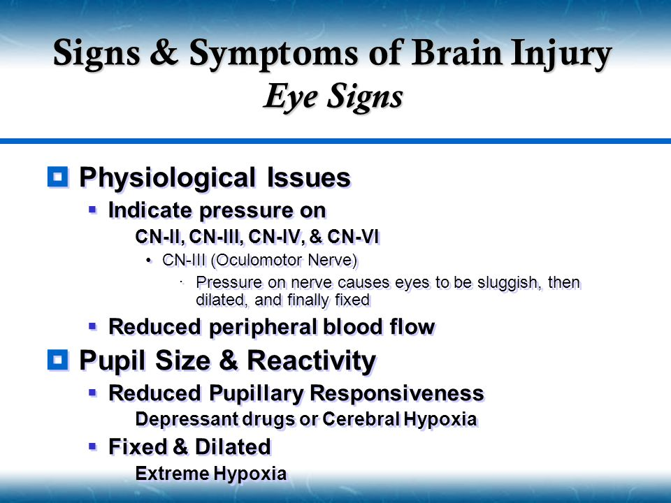 Signs & Symptoms of Brain Injury Eye Signs
