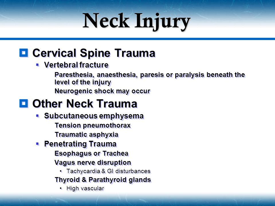 Neck Injury Cervical Spine Trauma Other Neck Trauma Vertebral fracture