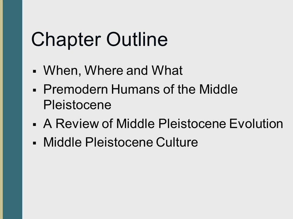 Chapter Outline When, Where and What