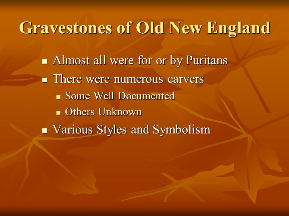 Gravestones of Old New England