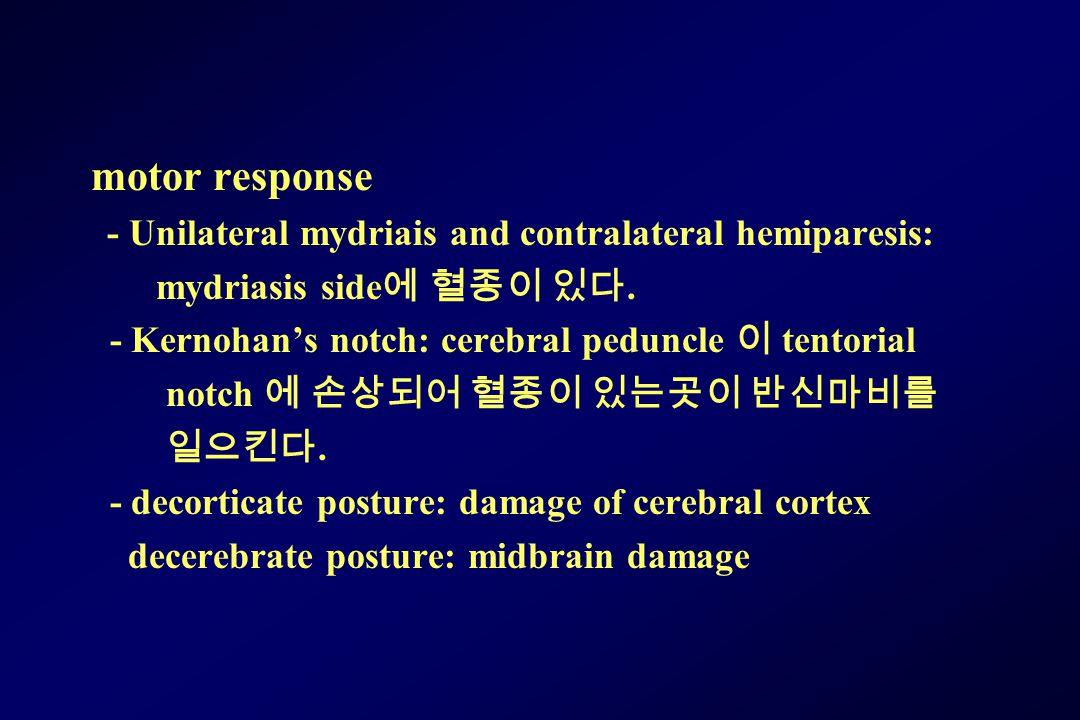 motor response mydriasis side에 혈종이 있다.
