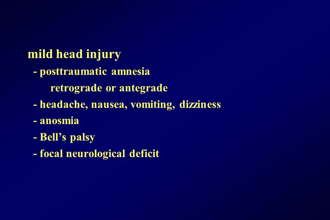 mild head injury - posttraumatic amnesia retrograde or antegrade