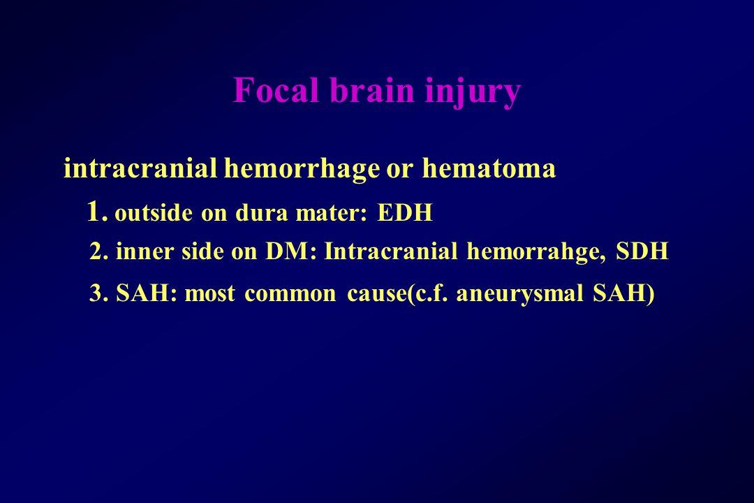 Focal brain injury intracranial hemorrhage or hematoma