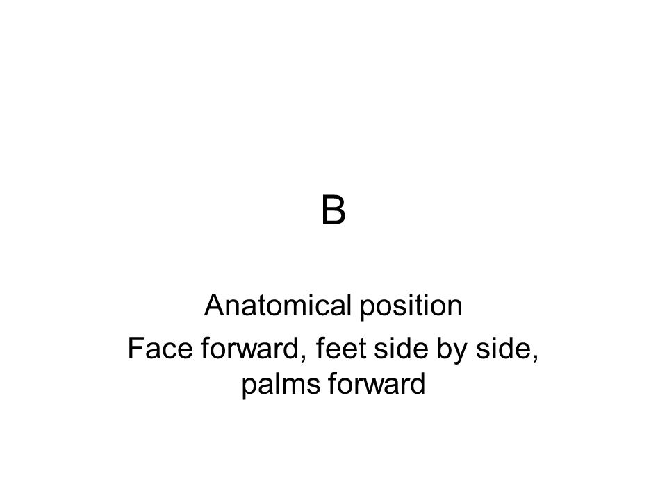 Anatomical position Face forward, feet side by side, palms forward