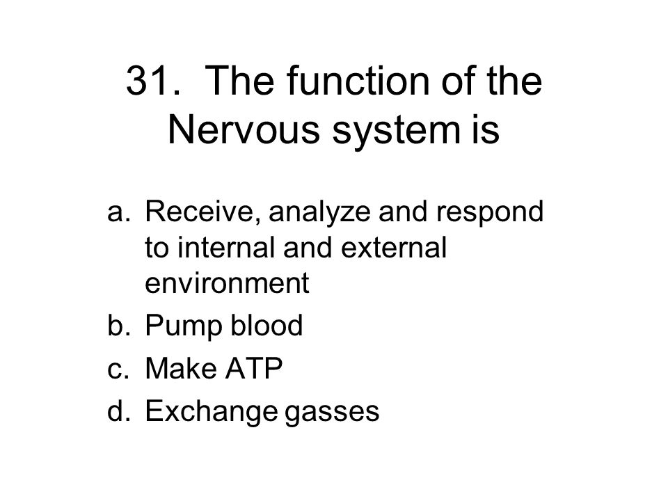 31. The function of the Nervous system is