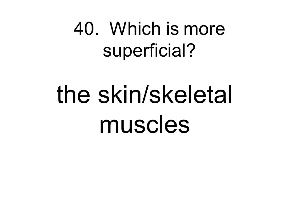 40. Which is more superficial