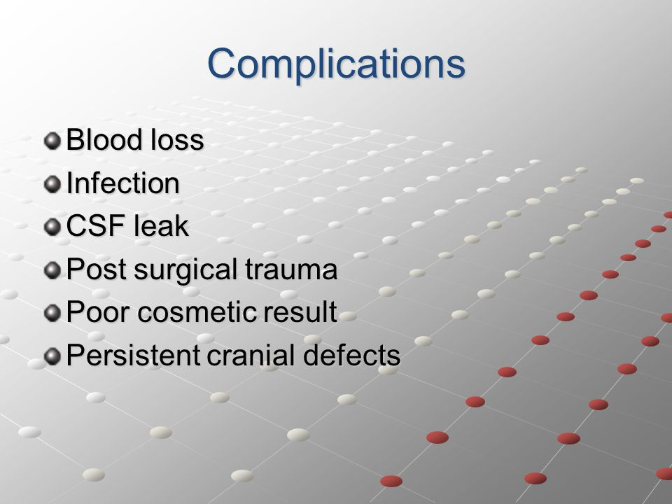 Complications Blood loss Infection CSF leak Post surgical trauma