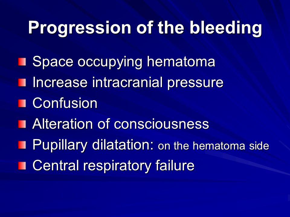 Progression of the bleeding