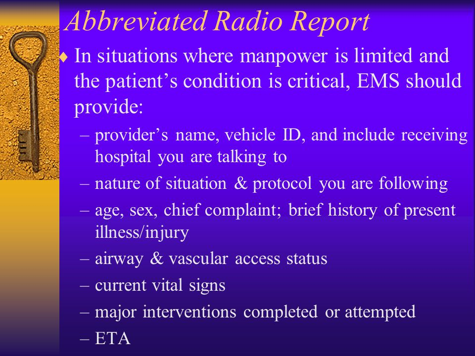 Abbreviated Radio Report