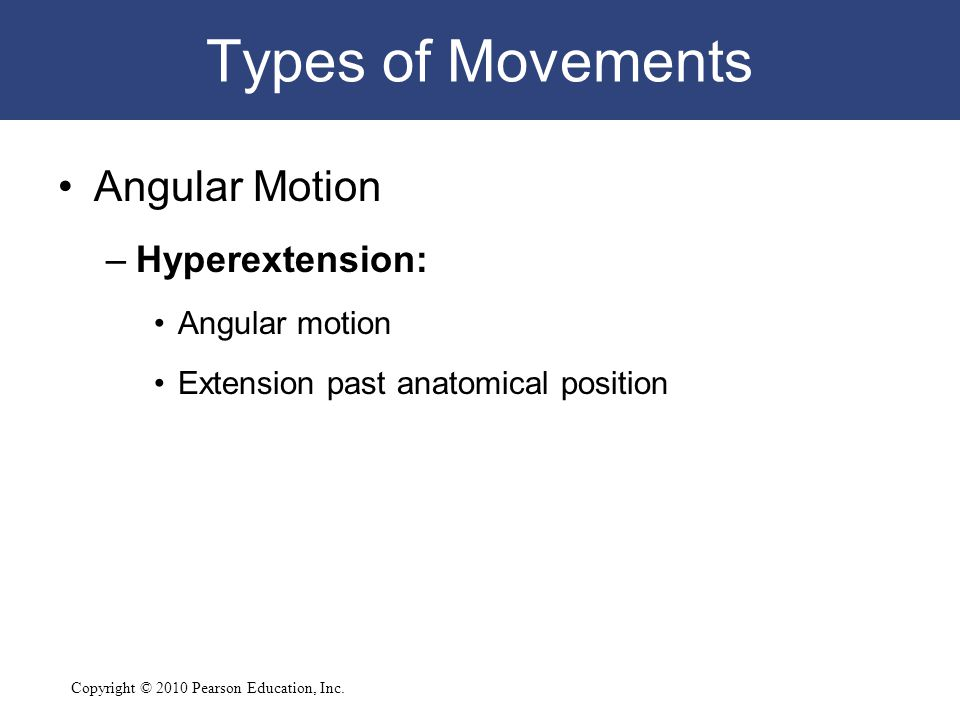 Types of Movements Angular Motion Hyperextension: Angular motion