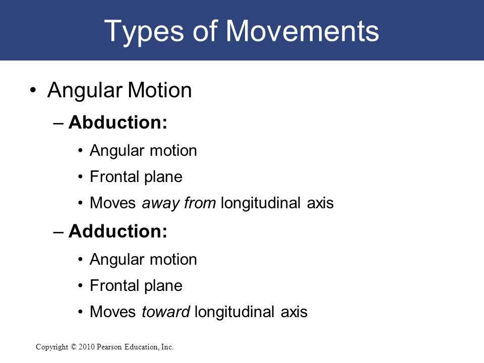 Types of Movements Angular Motion Abduction: Adduction: Angular motion