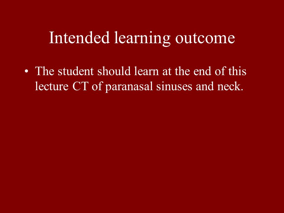 Intended learning outcome