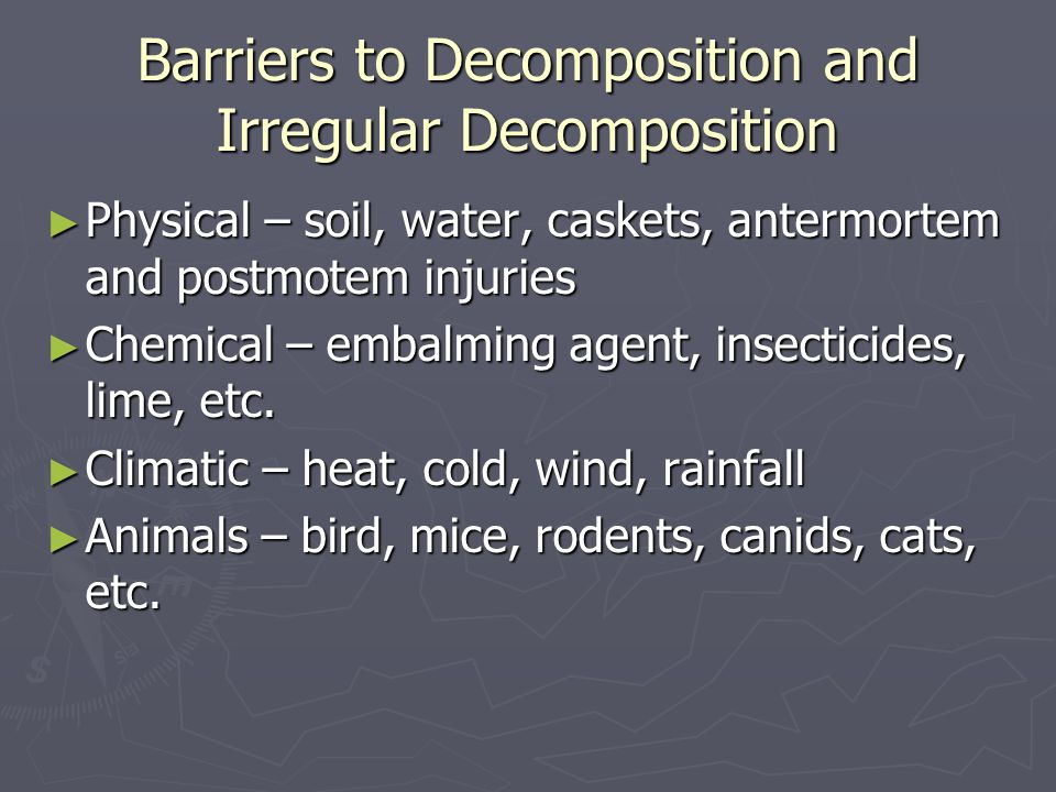 Barriers to Decomposition and Irregular Decomposition
