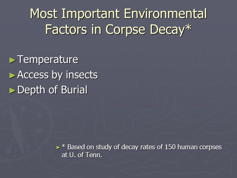 Most Important Environmental Factors in Corpse Decay*