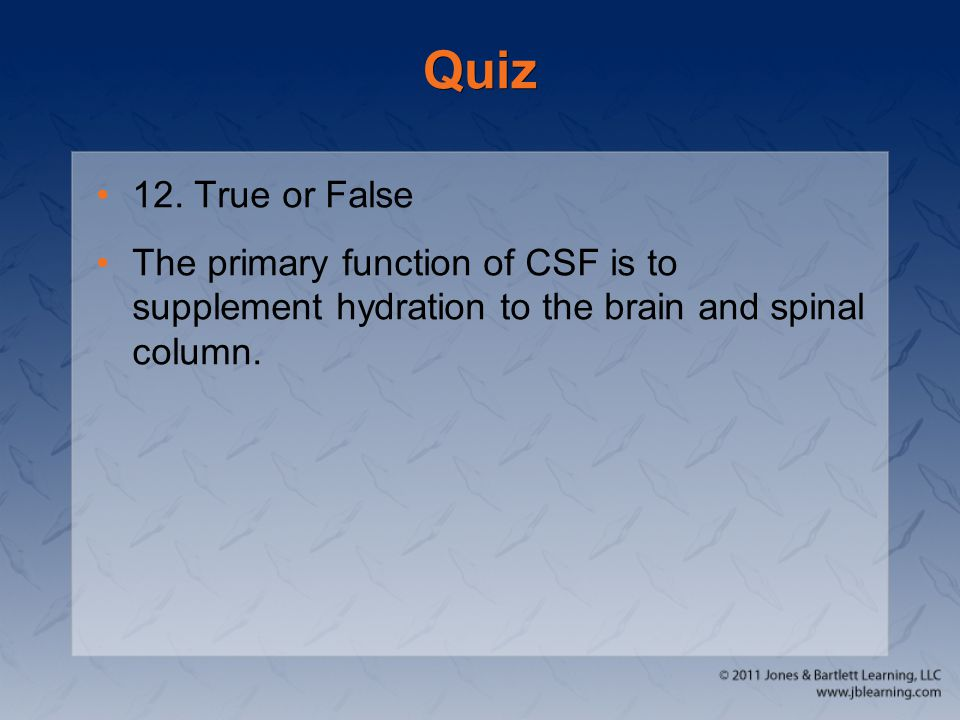 Quiz 12. True or False.
