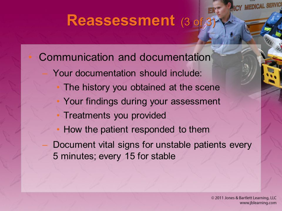 Reassessment (3 of 3) Communication and documentation