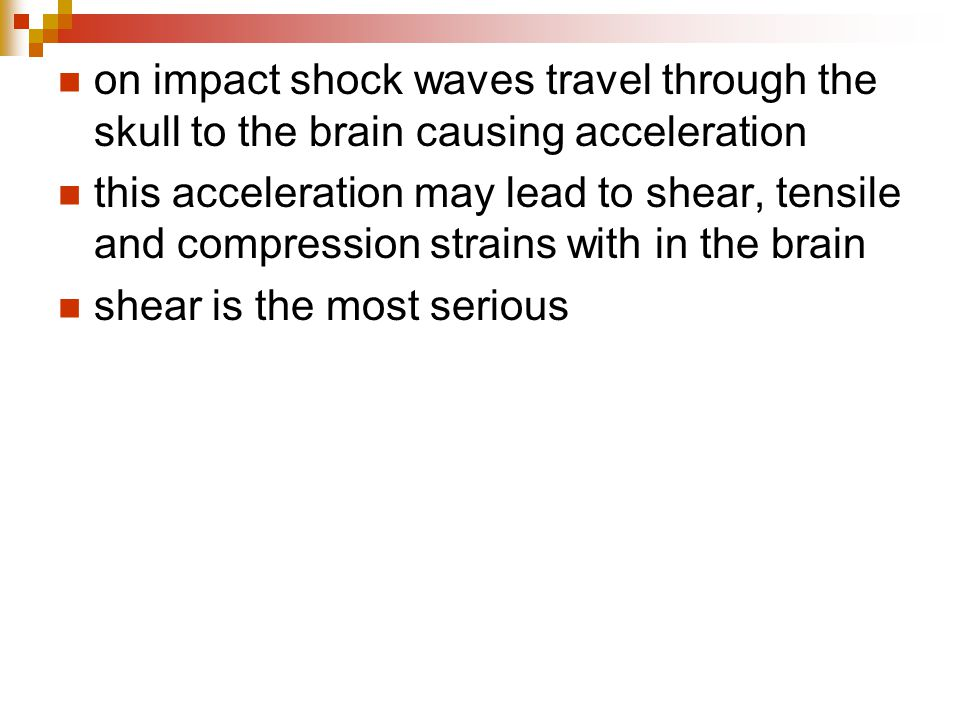 on impact shock waves travel through the skull to the brain causing acceleration