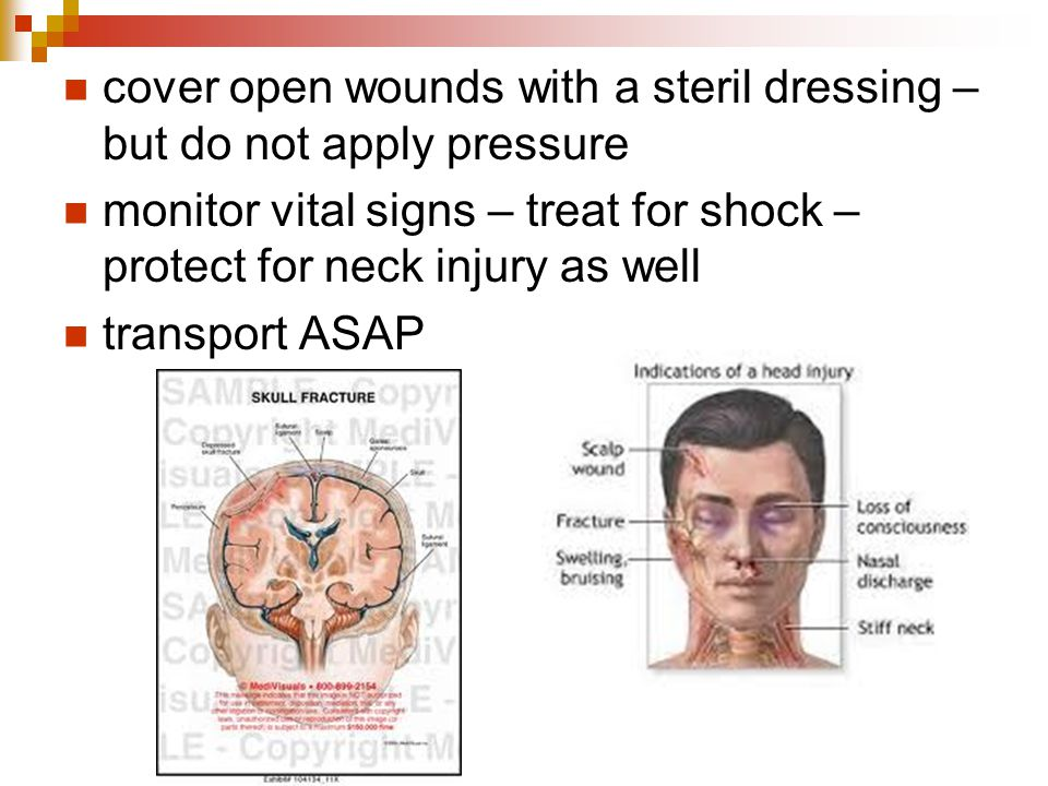 cover open wounds with a steril dressing – but do not apply pressure
