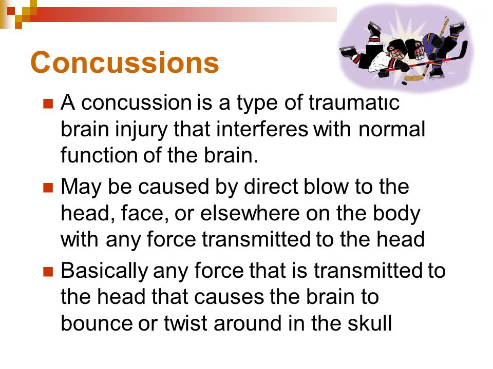 Concussions A concussion is a type of traumatic brain injury that interferes with normal function of the brain.