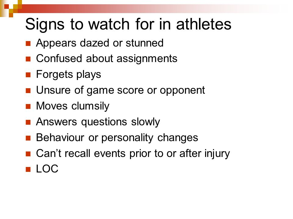 Signs to watch for in athletes