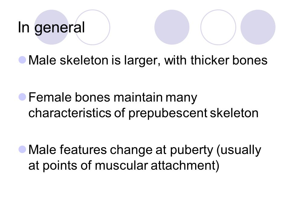 In general Male skeleton is larger, with thicker bones