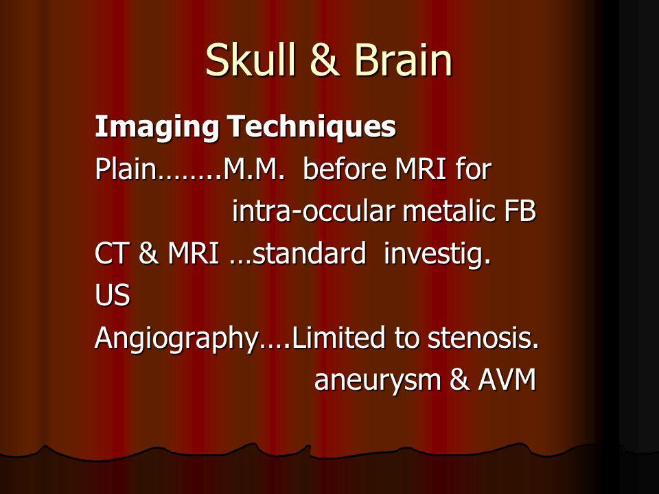 Skull & Brain Imaging Techniques Plain……..M.M. before MRI for