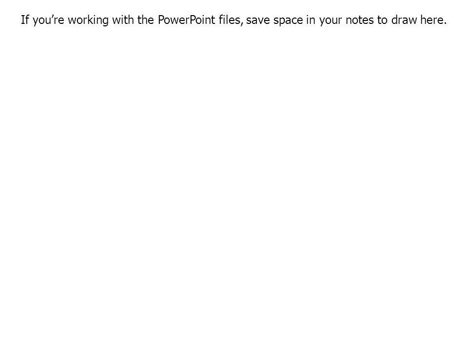 If you're working with the PowerPoint files, save space in your notes to draw here.