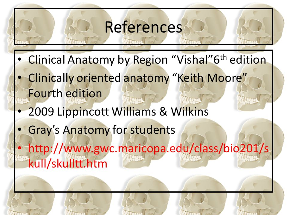 References Clinical Anatomy by Region Vishal 6th edition