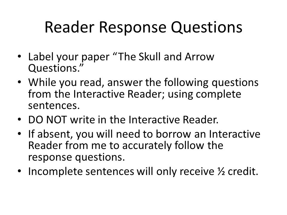 Reader Response Questions