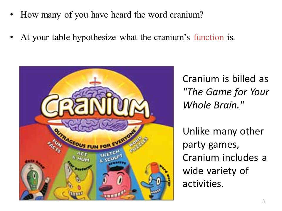 Cranium is billed as The Game for Your Whole Brain.